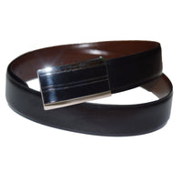 Plate buckle black and brown reversible leather belt - Lusso Leather - 1