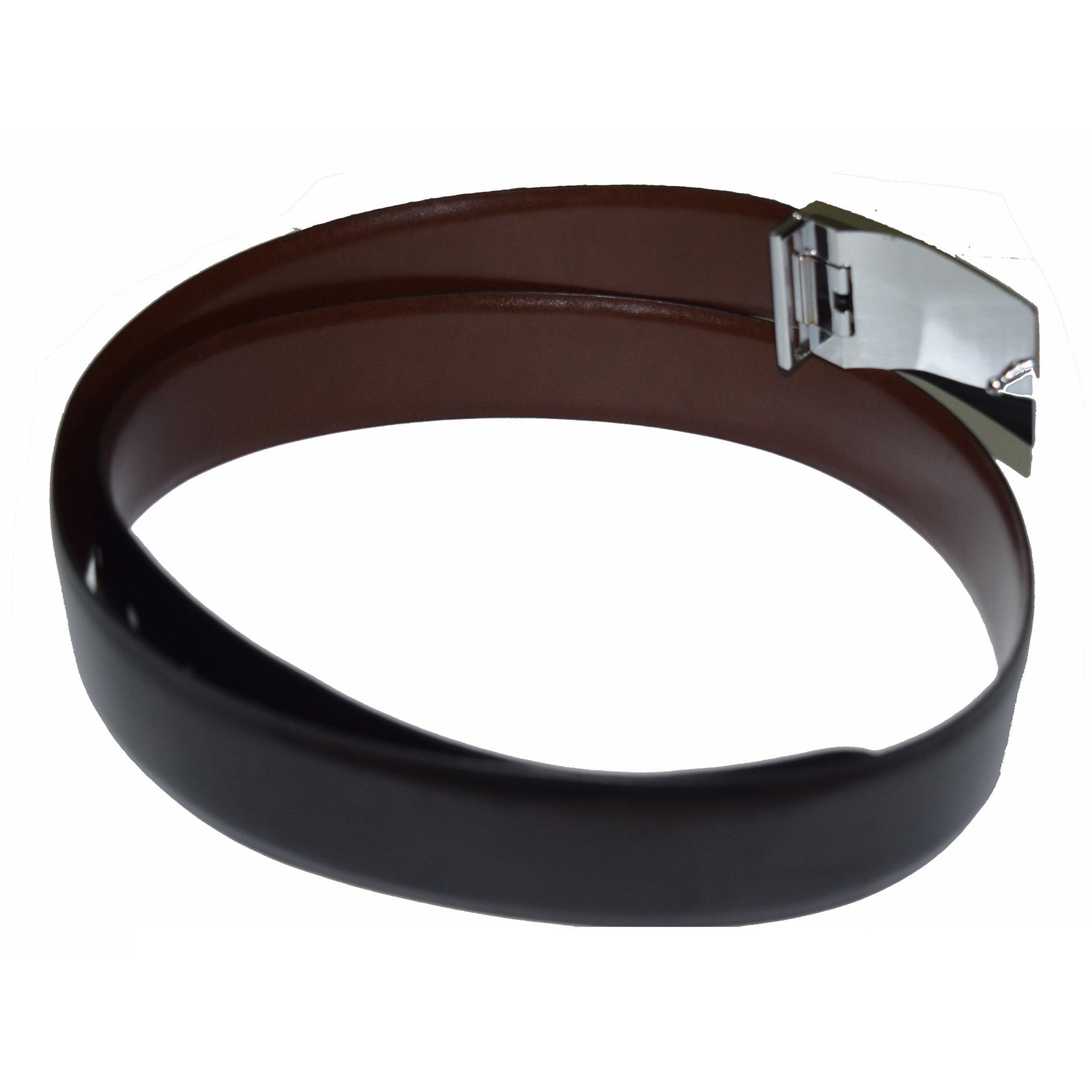Plate buckle black and brown reversible leather belt - Lusso Leather - 2
