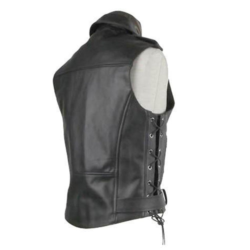 Biker leather jacket with waist belt - Lusso Leather - 2