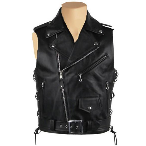 Biker leather jacket with waist belt - Lusso Leather - 1