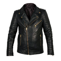 Quilted Biker Leather Jacket - CLEARANCE PRE MADE