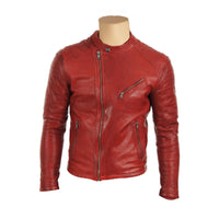 Red moto style jacket with stitching pattern - Lusso Leather - 1