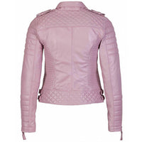 Women's Pink Quilted Biker style leather jacket