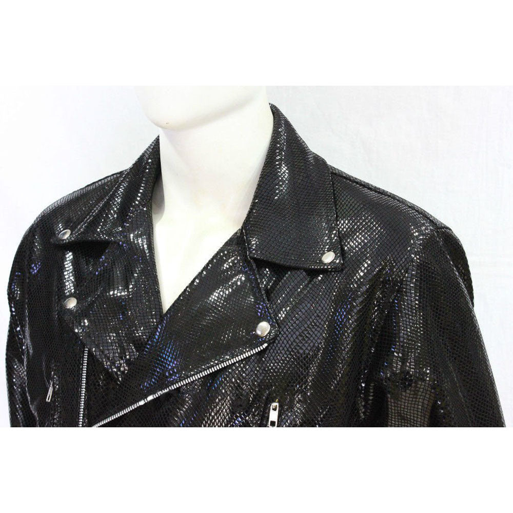 Snake print biker style leather jacket - Lusso Leather - 2
