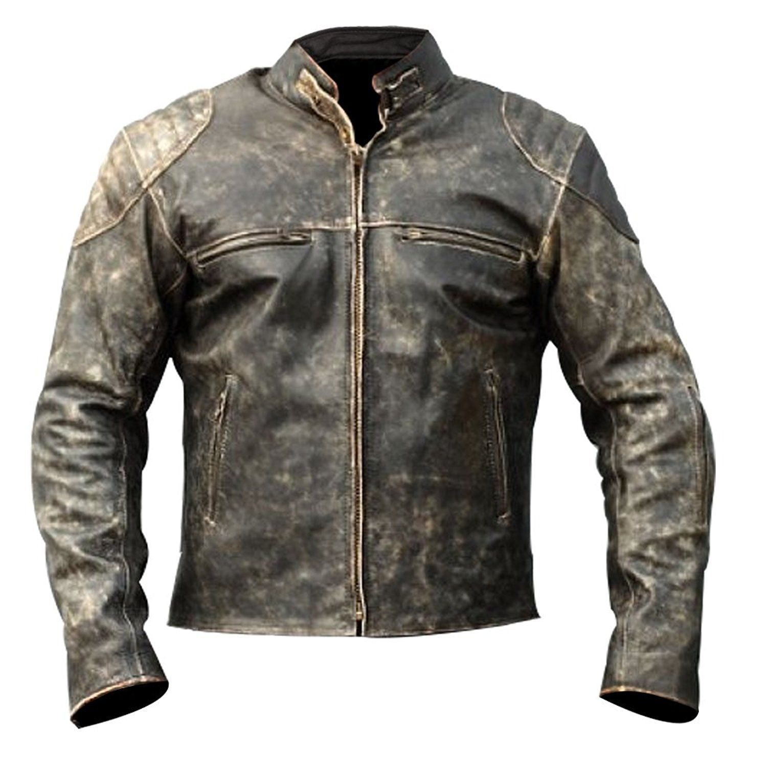 Theon's Distressed Leather Jacket With Shoulder Patch