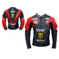 Red and black Kawasaki motorycle jacket with armor protection - Lusso Leather - 1