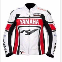 Red and white yamaha R1 motorycle jacket with armor protection - Lusso Leather - 1