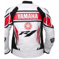 Red and white yamaha R1 motorycle jacket with armor protection - Lusso Leather - 2
