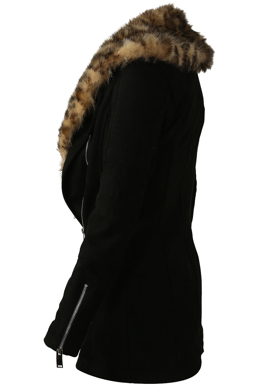 Kia Foleys Suede Leather Jacket With Leopard Print Fur Collar