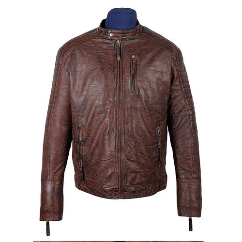 Men's Salavat Wrinkled Brown Leather Jacket