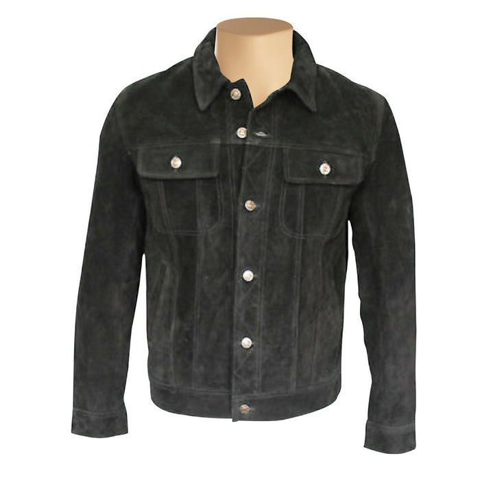 Hart's black suede leather shirt