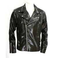 Snake print biker style leather jacket - Lusso Leather - 1
