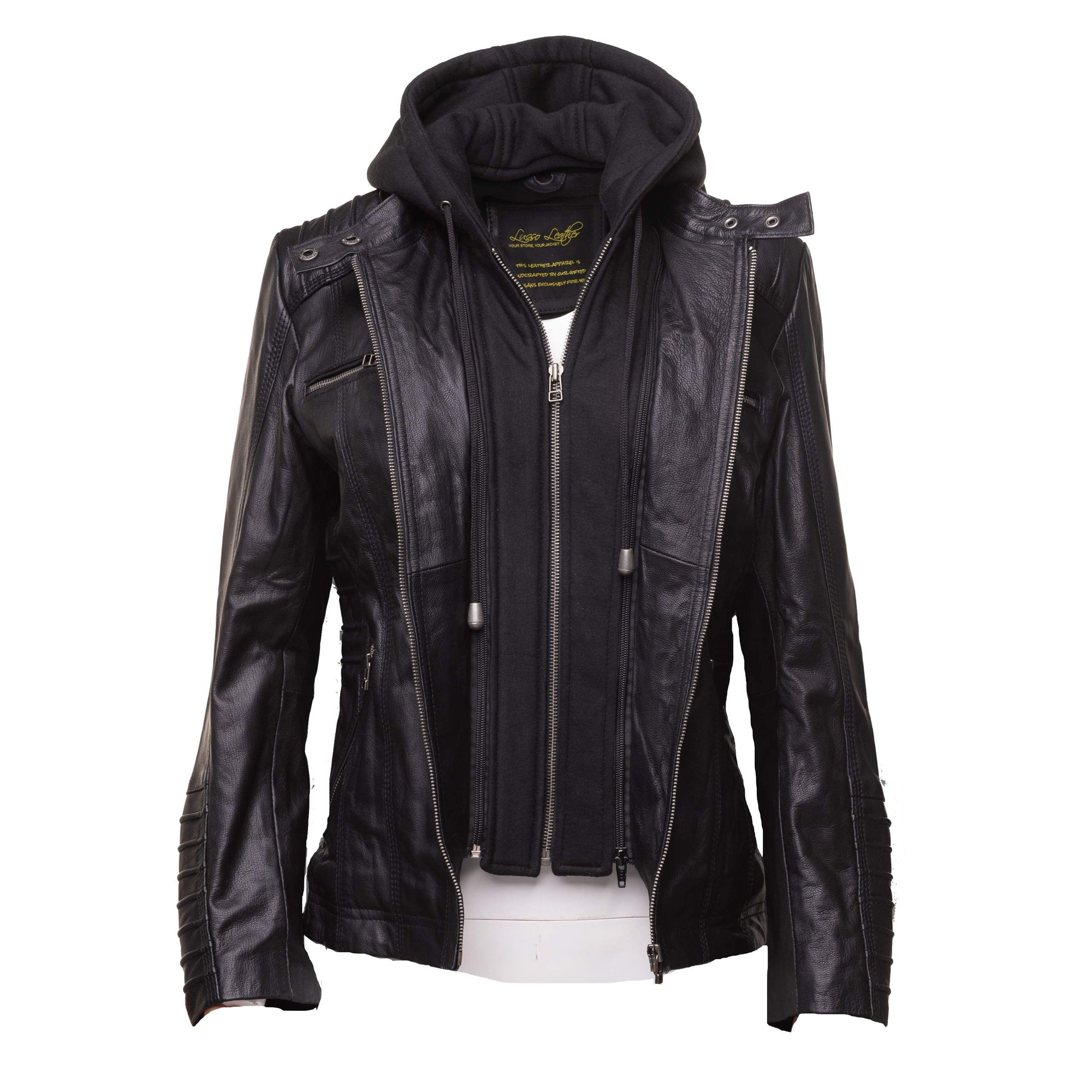 Women's black leather jacket with piping details