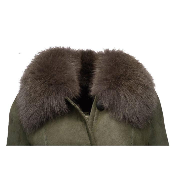 Caitlan's Shearling Sheepskin Long Coat with Fox Fur Trim