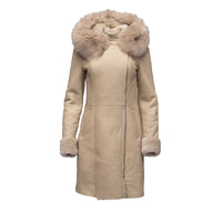 Gracie's Hooded Sheepskin Shearling Jacket with fox fur