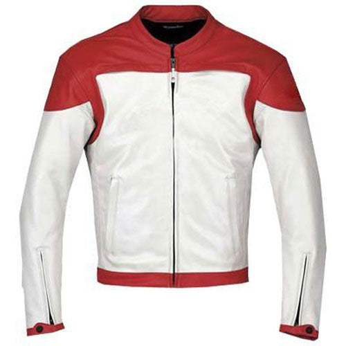 Plain Red and white motorcycle jacket with armor protection - Lusso Leather