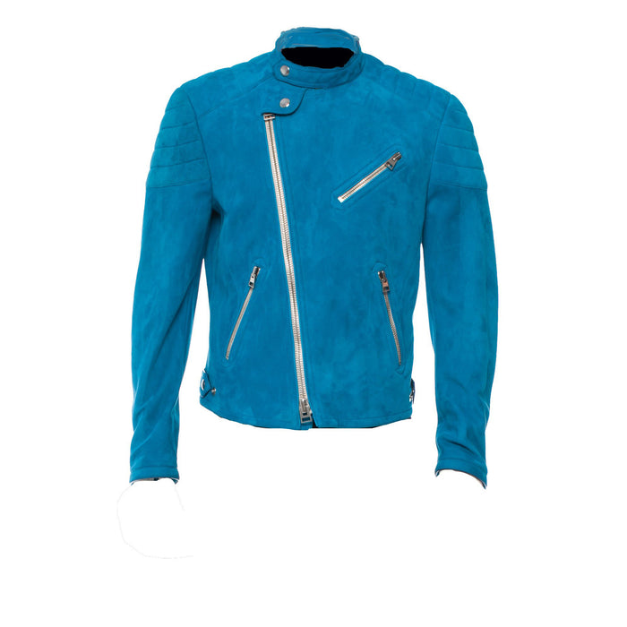 Blue suede jacket with snap collar - Lusso Leather