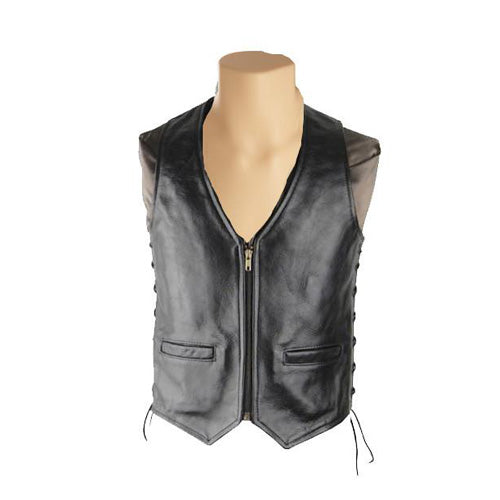Casual black laced leather vest - Lusso Leather - 1