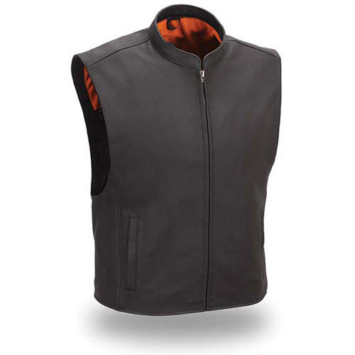 Sleek mandarin collar leather vest - Lusso Leather
