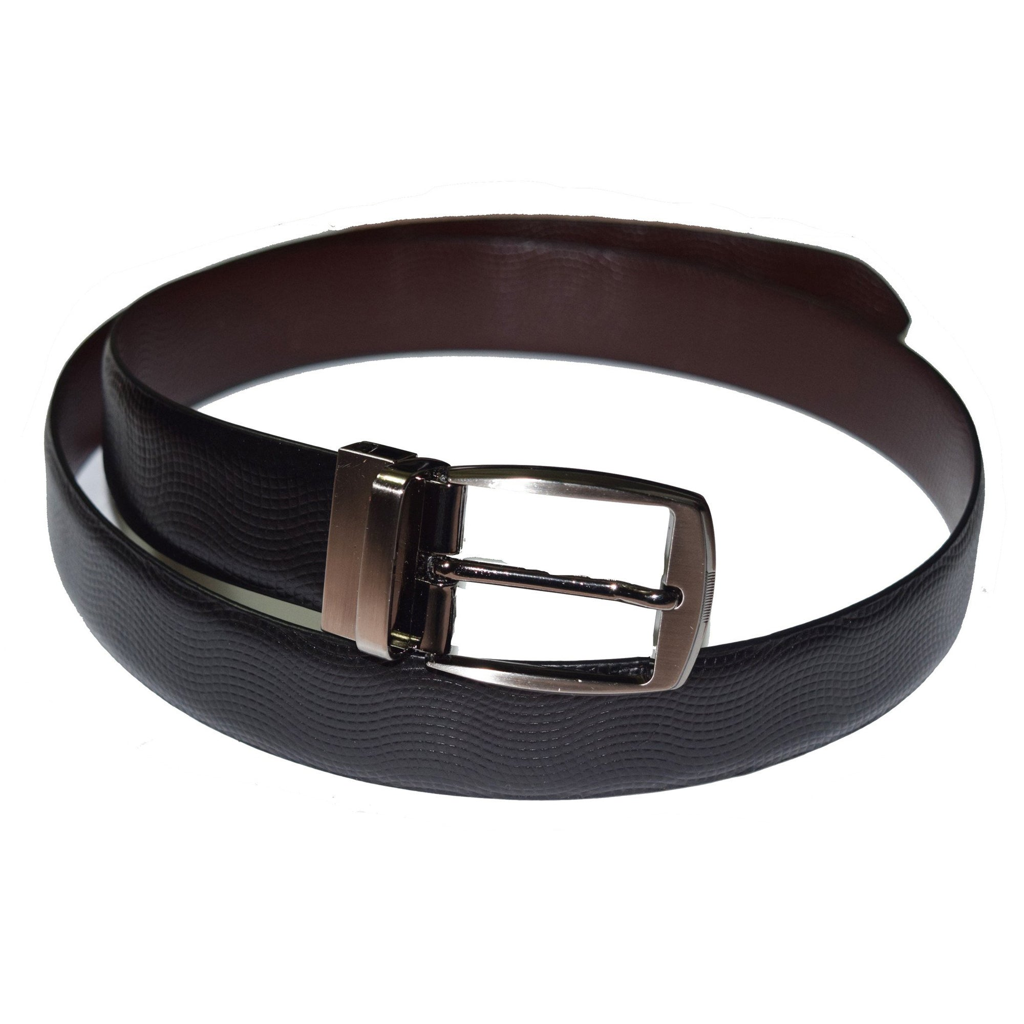Black and brown reversible leather belt with wave print - Lusso Leather - 1