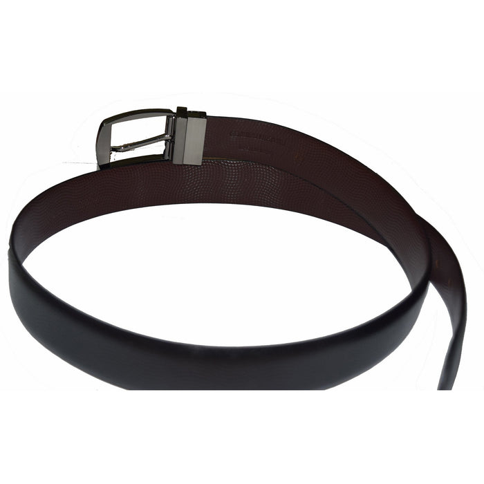 Black and brown reversible leather belt with wave print - Lusso Leather - 2