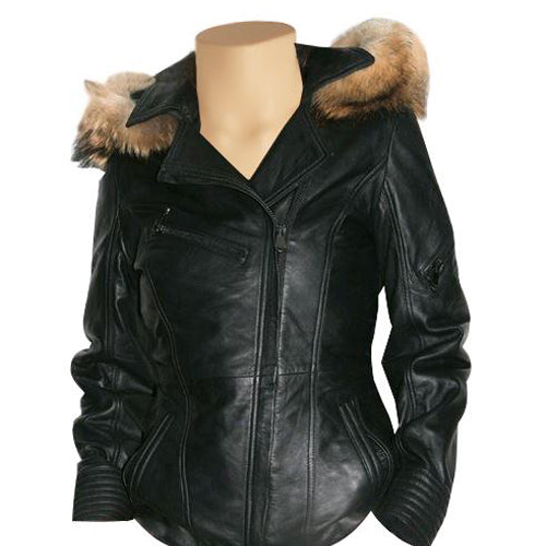 Idelle Double breasted car coat with real fox fur hoodie