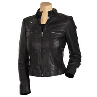 Women's black leather jacket with collar belt - Lusso Leather - 1