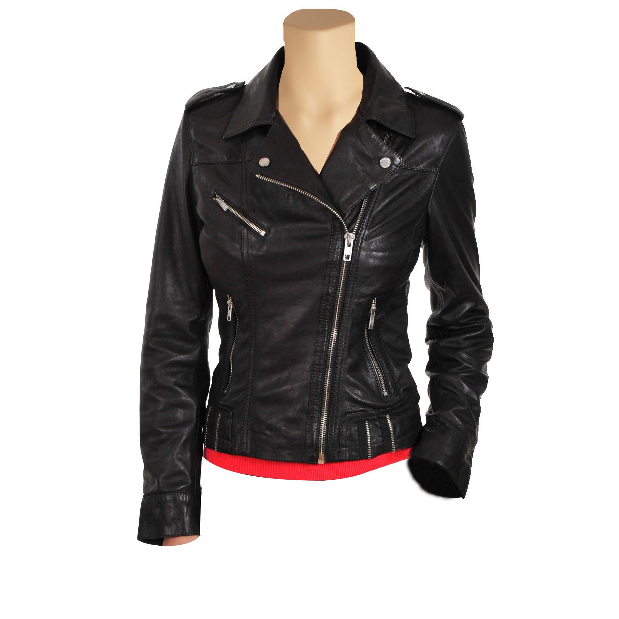 Women's classic biker style leather jacket - Lusso Leather - 1