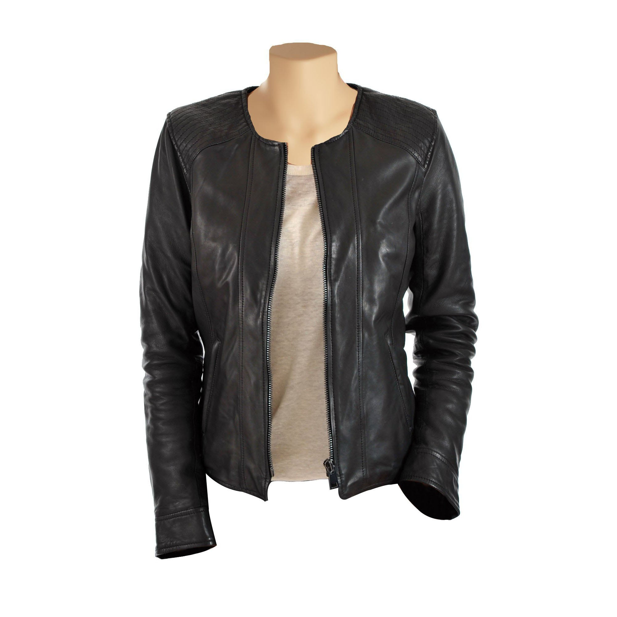 Women's collarless leather jacket - Lusso Leather