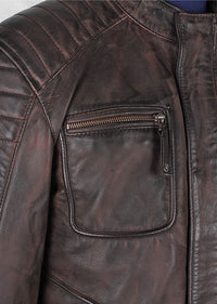 Men's Benton Vintage rust Leather Jacket