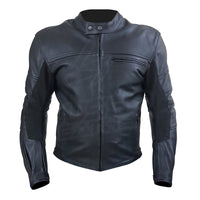 """The Real Racer"" Black Premium Leather Armored Motorcycle Jacket"