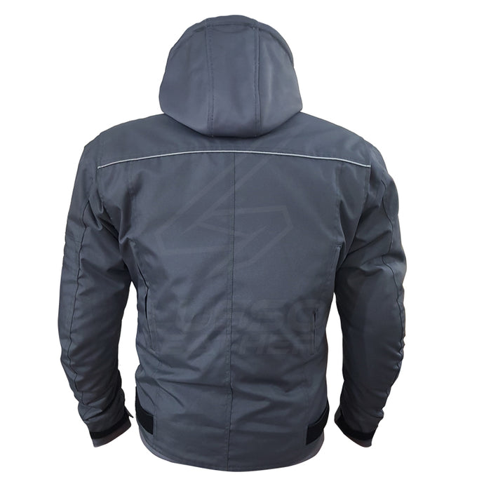 """The Utility"" Air Ventilation and Hooded Breathable and Waterproof Textile Motorcycle Jacket with armor protectors"