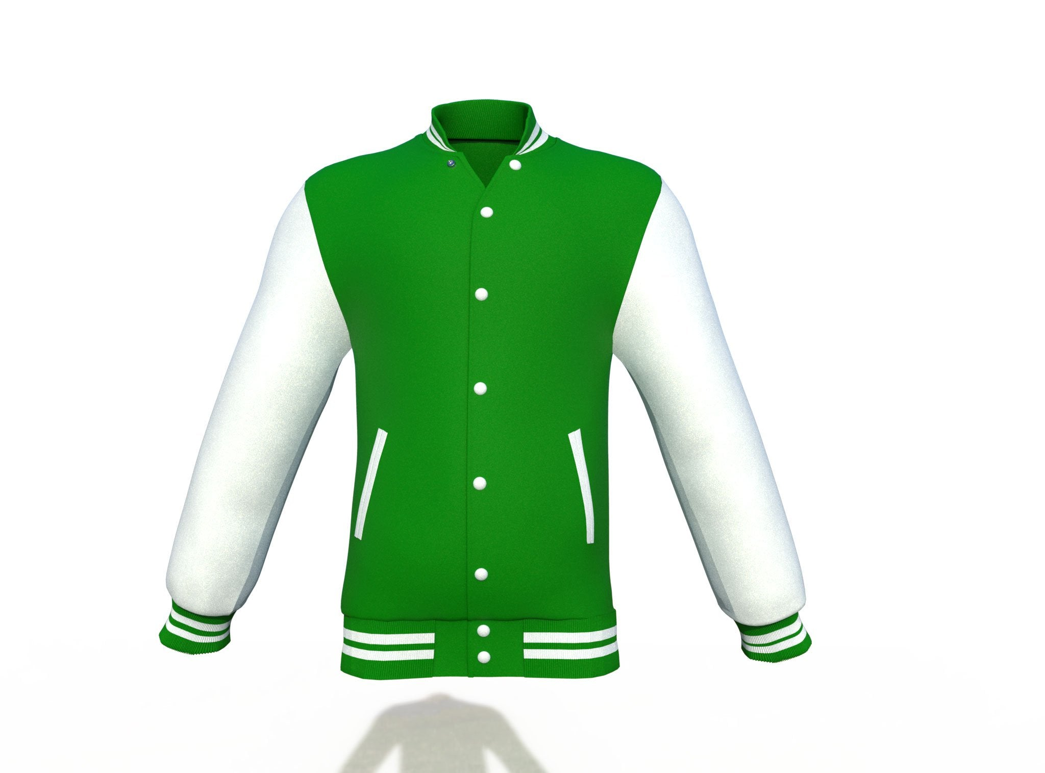 Dark Green Varsity Letterman Jacket with White Sleeves