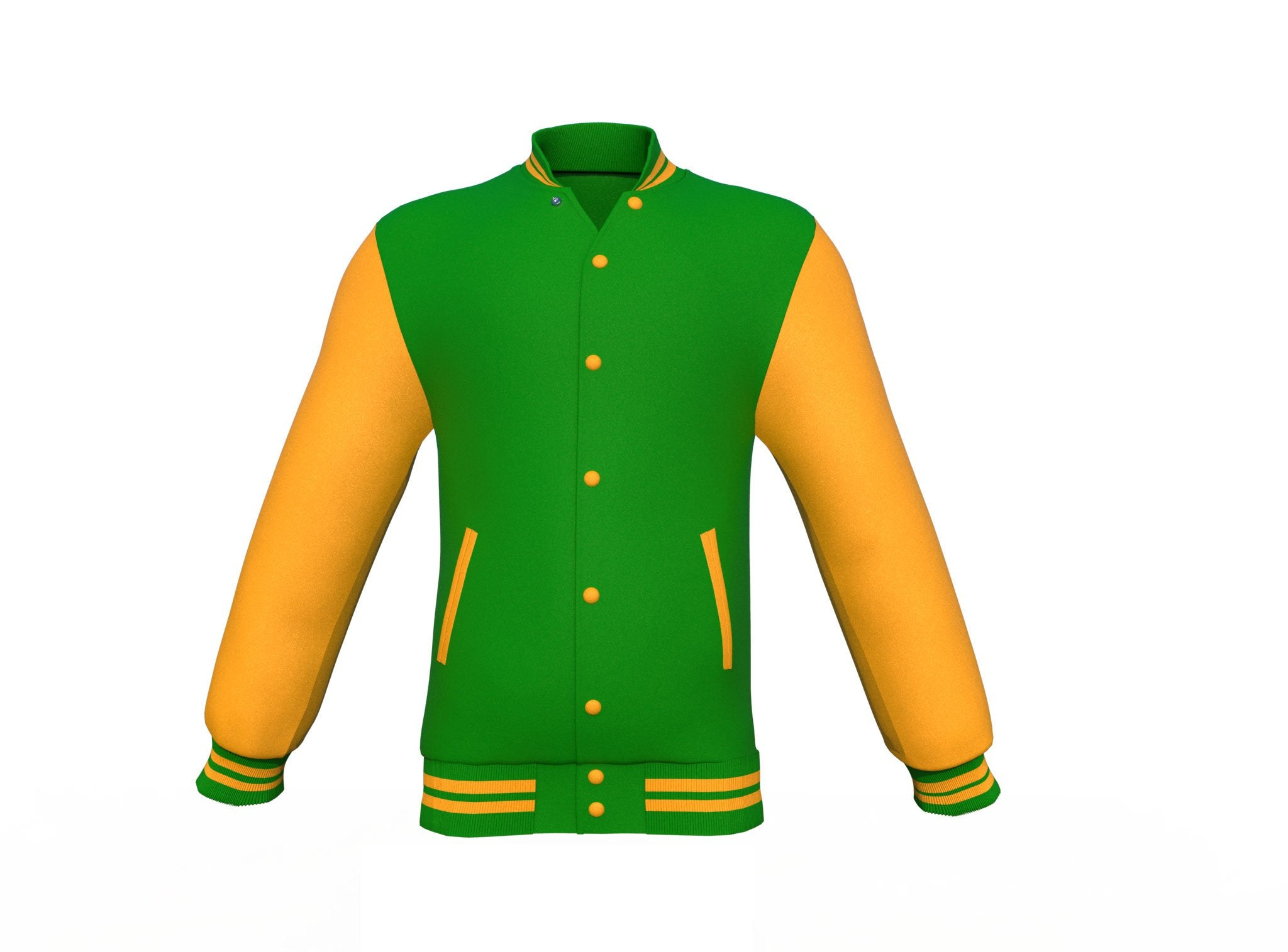 Dark Green Varsity Letterman Jacket with Gold Sleeves