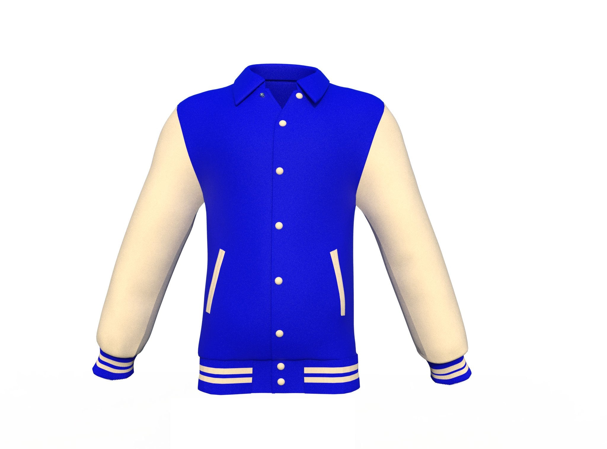 Blue Varsity Letterman Jacket with Cream Sleeves