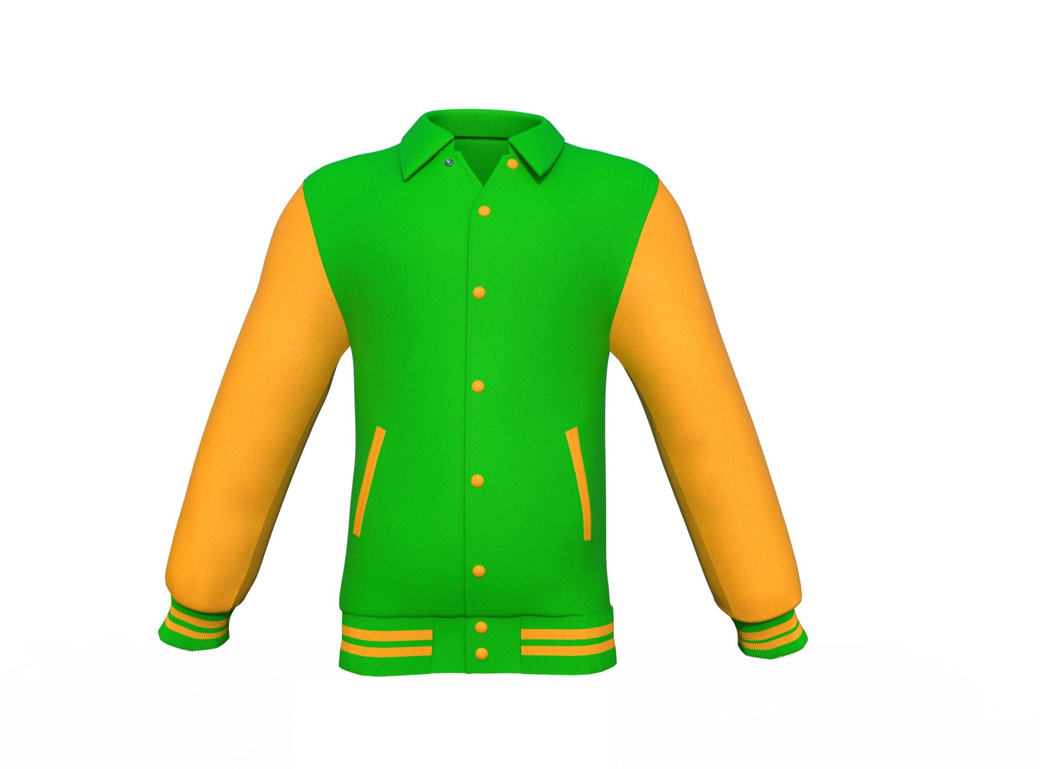 Light Green Varsity Letterman Jacket with Gold Sleeves