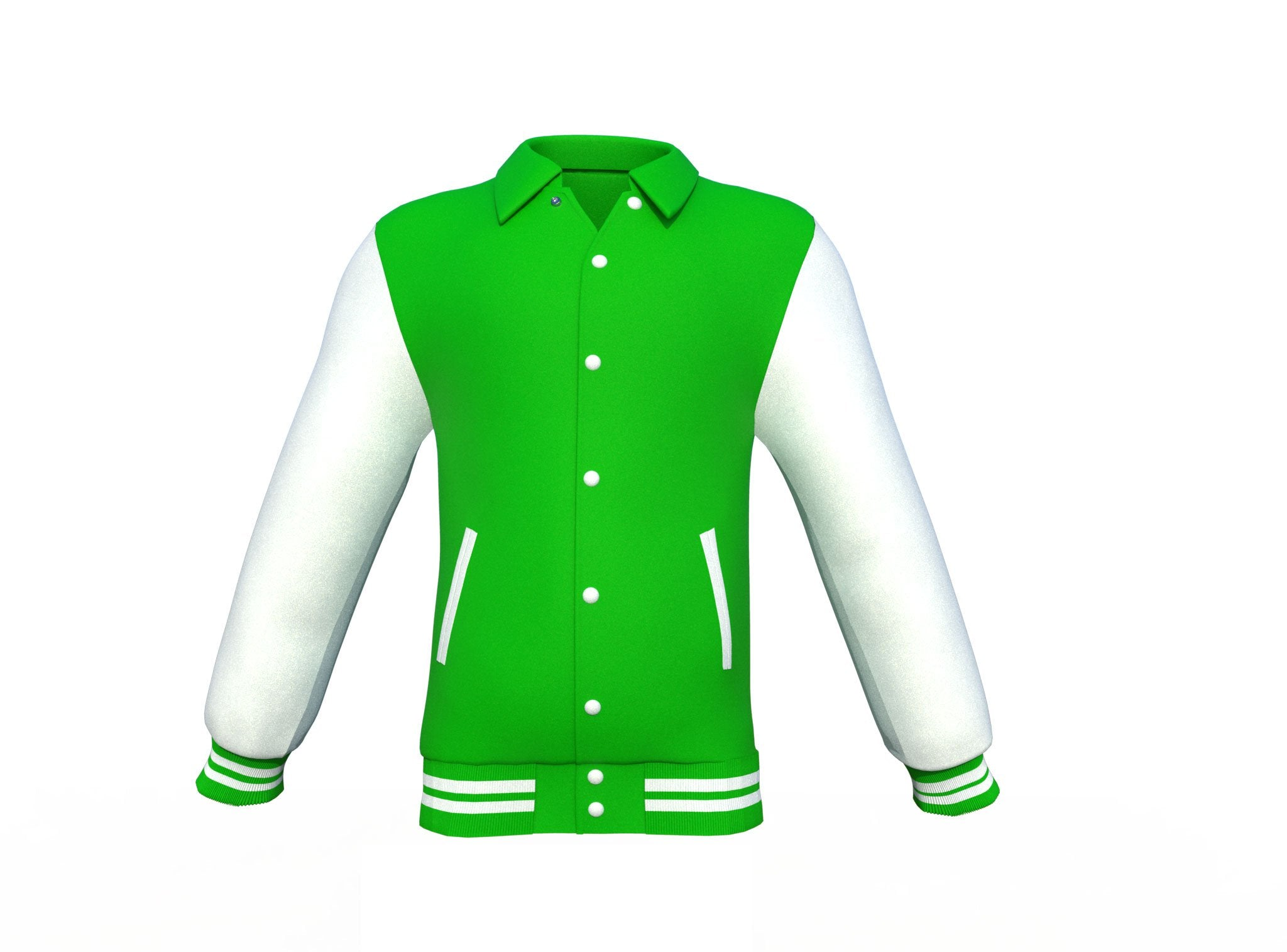 Light Green Varsity Letterman Jacket with White Sleeves