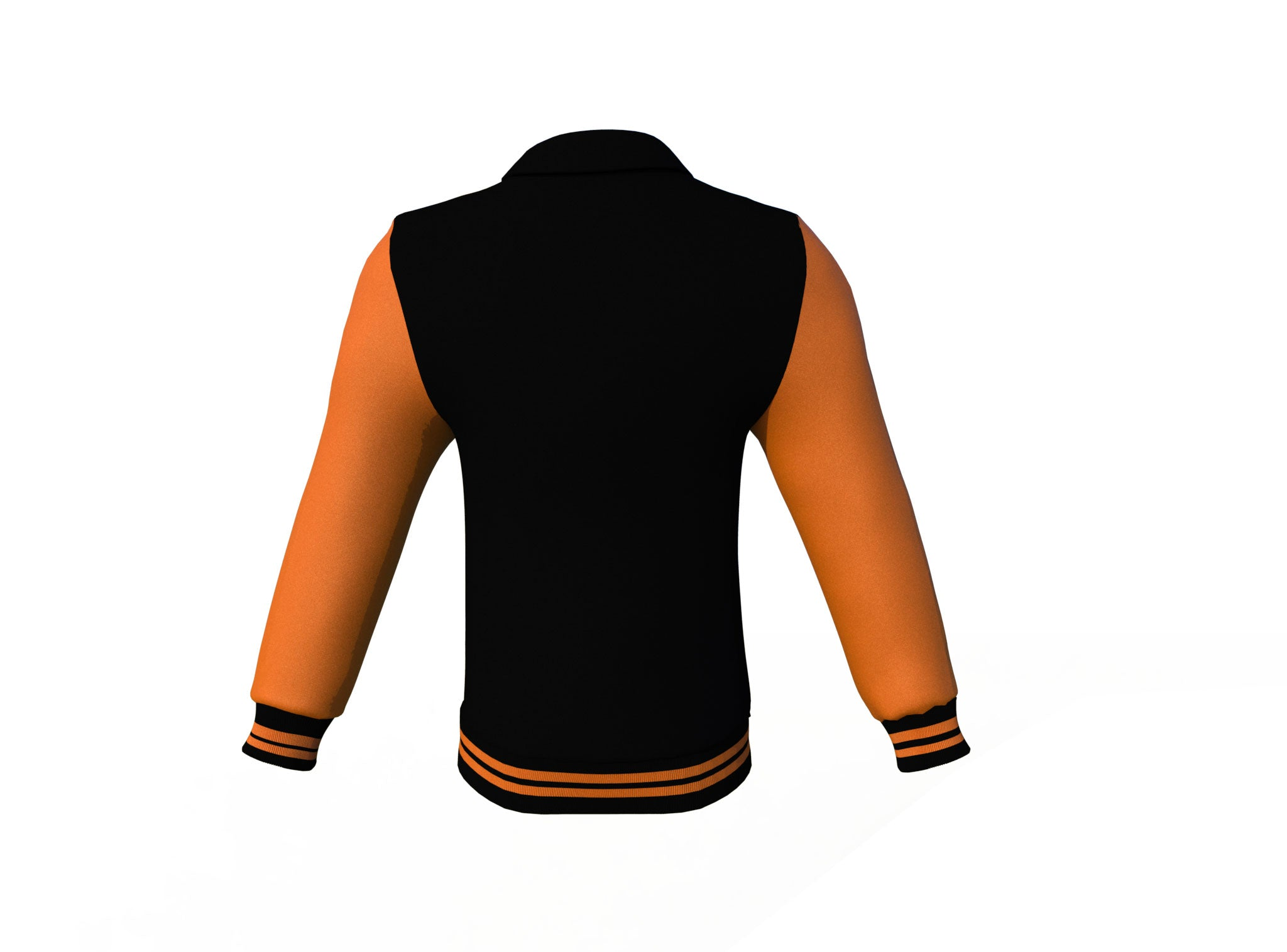 Black Varsity Letterman Jacket with Orange Sleeves