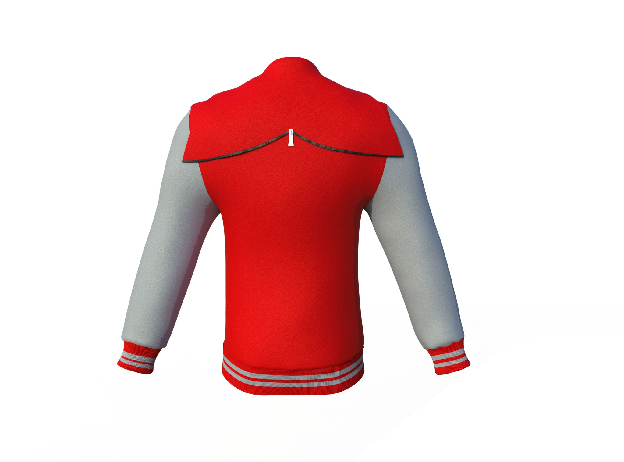 Red Varsity Letterman Jacket with Grey Sleeves