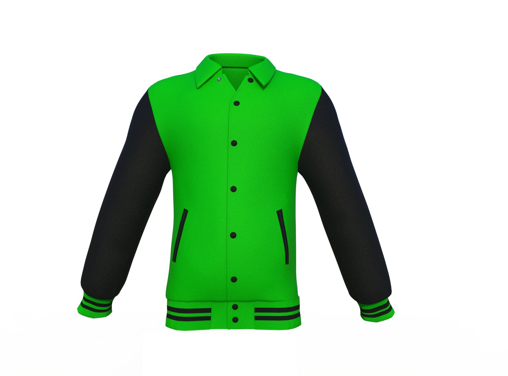 Light Green Varsity Letterman Jacket with Black Sleeves
