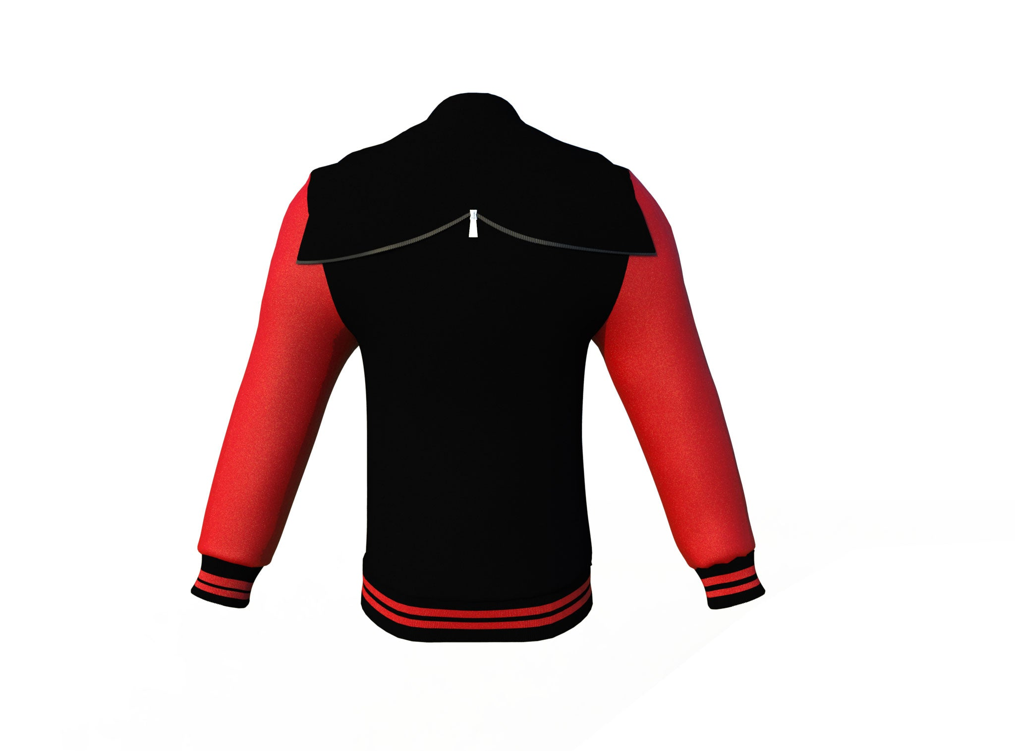 Black Varsity Letterman Jacket with Red Sleeves