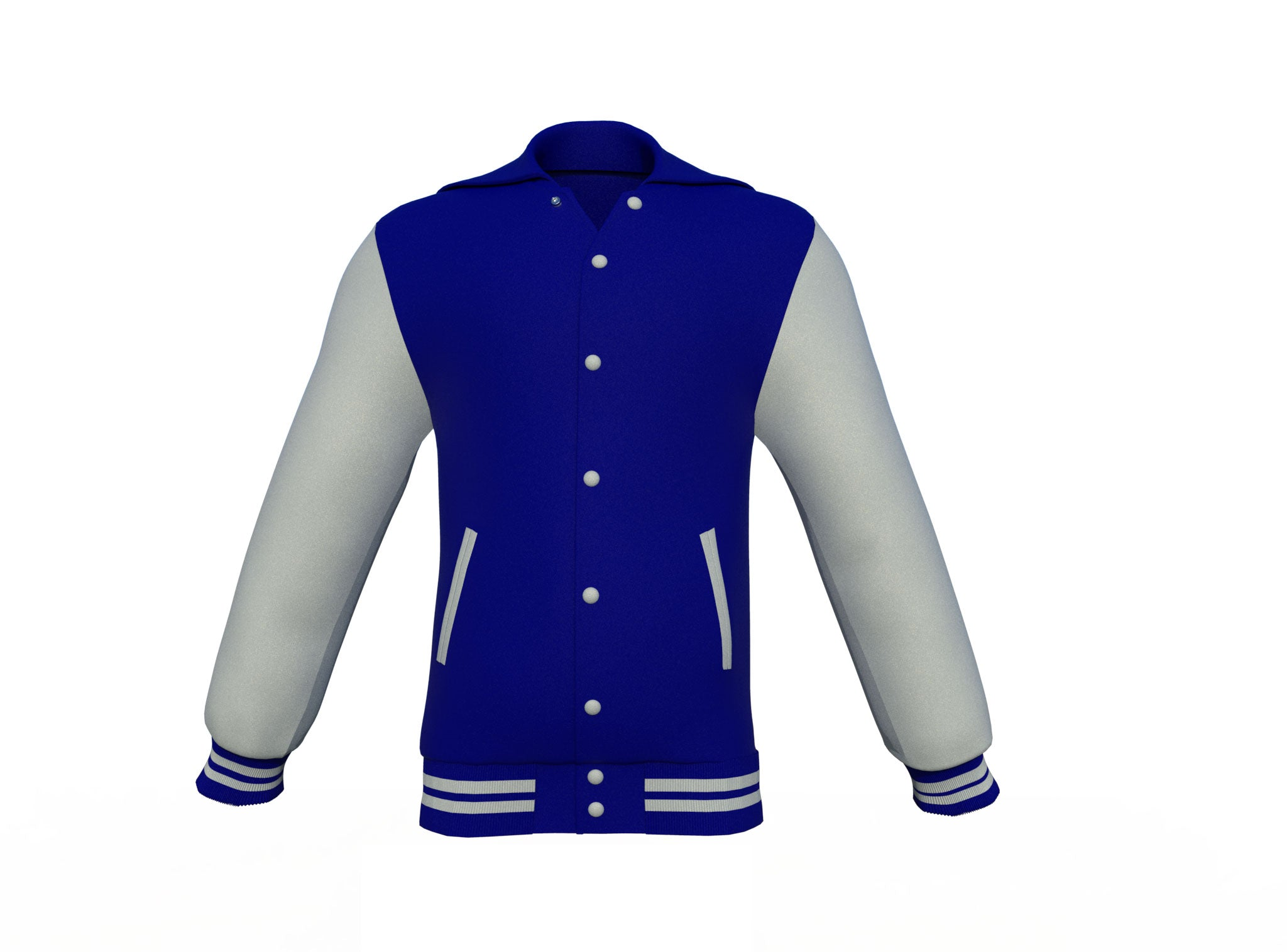 Navy Varsity Letterman Jacket with Grey Sleeves