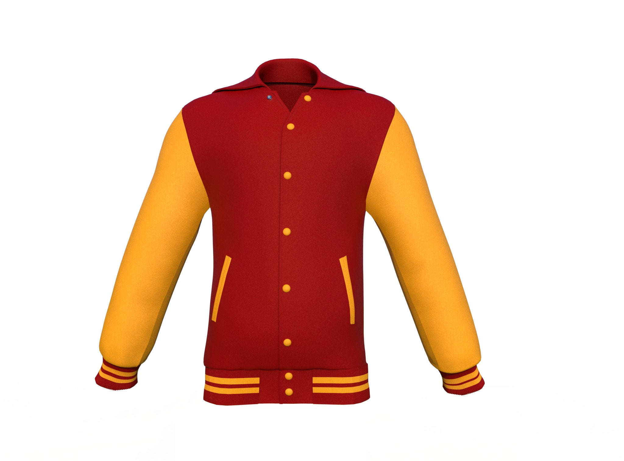 Maroon Varsity Letterman Jacket with Gold Sleeves