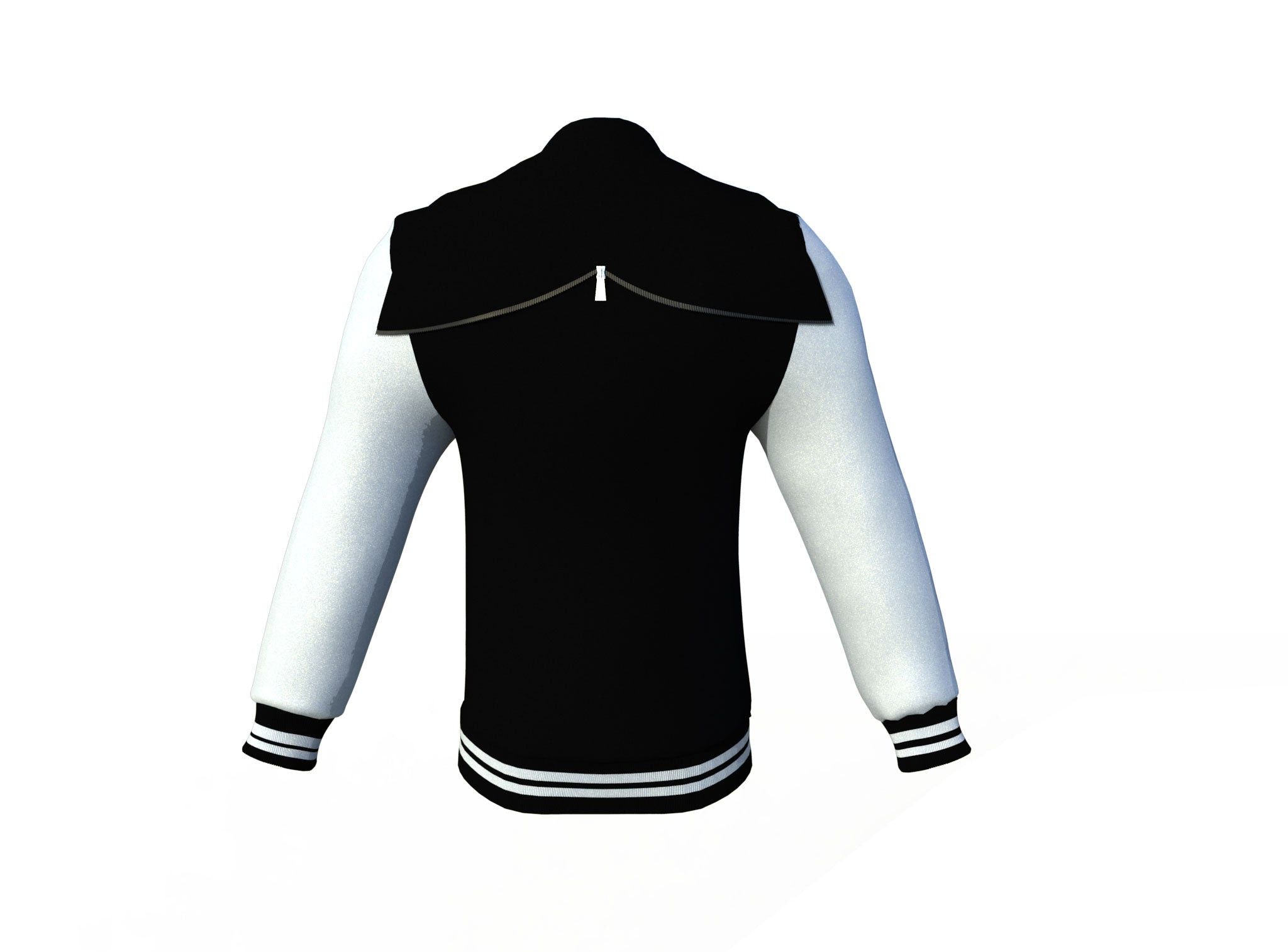Black Varsity Letterman Jacket with White Sleeves