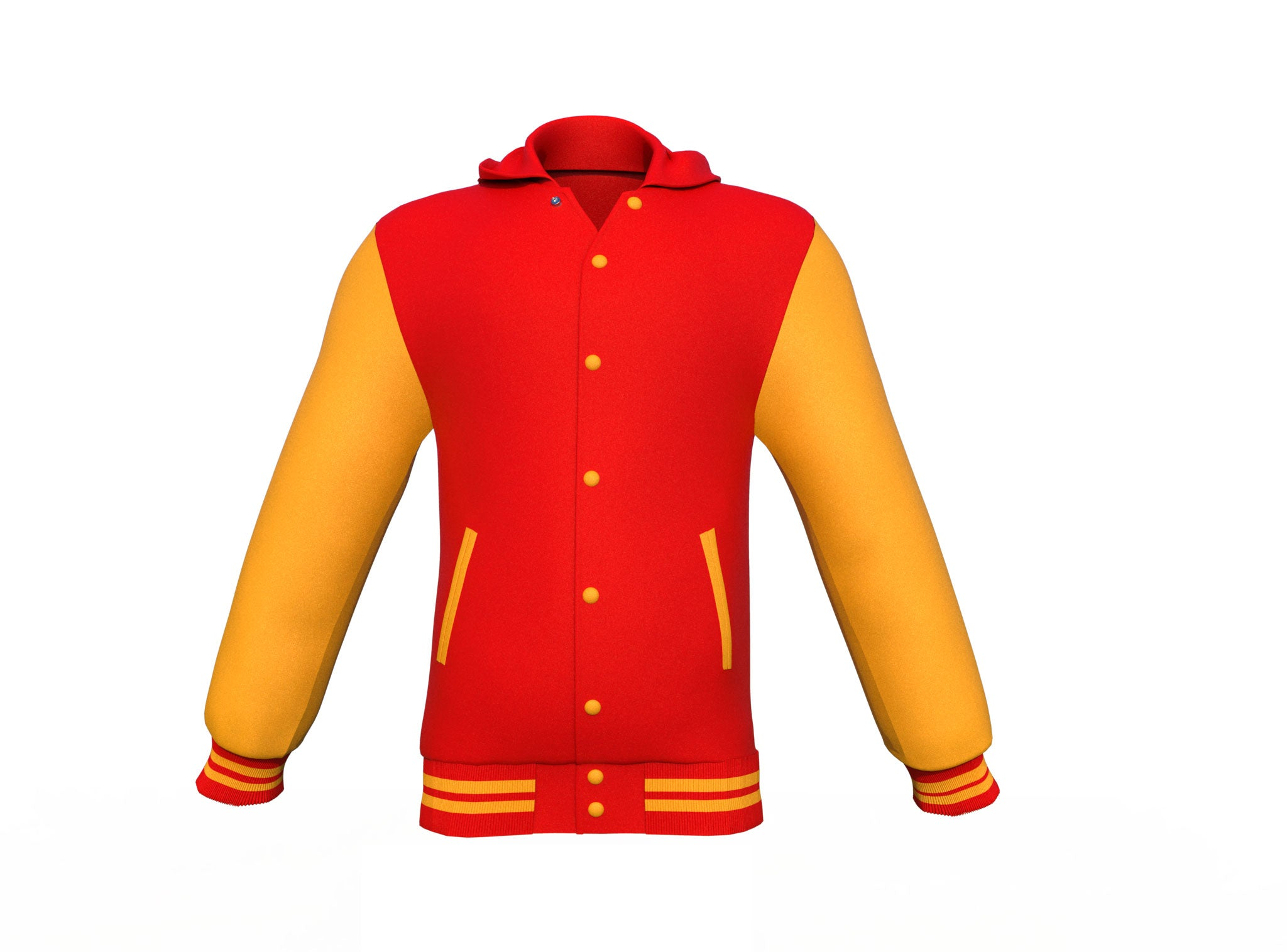Red Varsity Letterman Jacket with Gold Sleeves