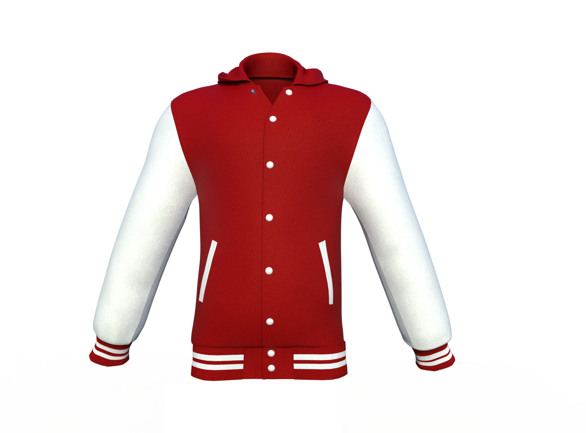 Maroon Varsity Letterman Jacket with White Sleeves