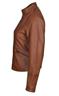 Dione's moto style sand washed leather jacket with buttoned collar
