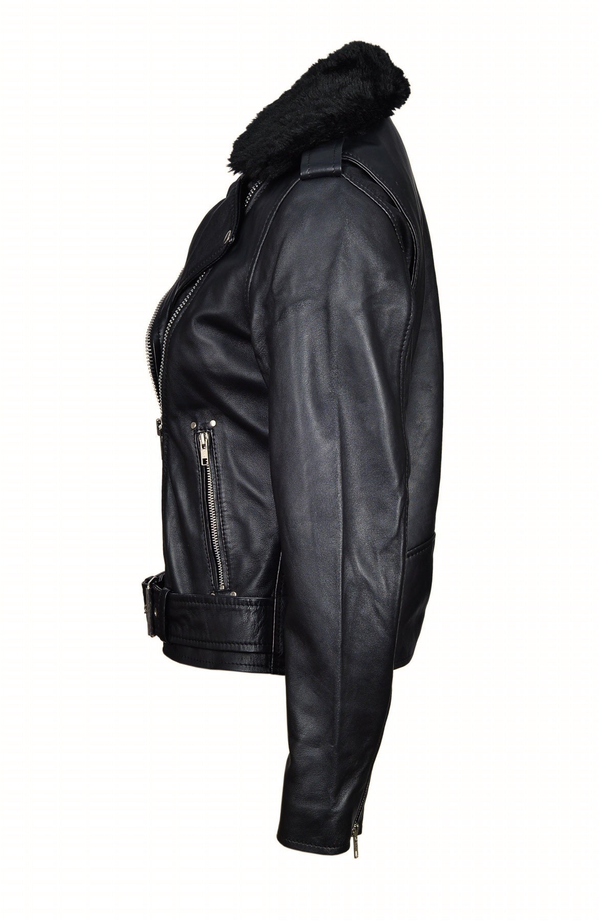 Eira's biker style leather jacket with fur collar