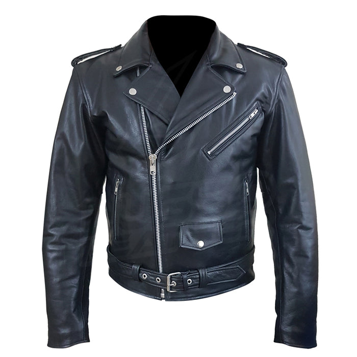 """Perfecto Biker Style"" Classic Black Premium Leather Motorcycle Jacket with removable armor"