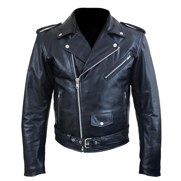 """Perfecto"" Biker Style Classic Black Premium Heavy Leather Jacket"